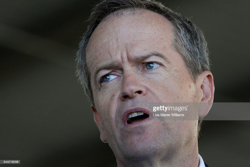 Opposition Leader, Australian Labor Party Bill Shorten speaks to the media during a visit to a polling booth at Colyton on July 2, 2016 in Sydney, Australia. After 8 official weeks of campaigning, Labor party leader, Bill Shorten will cast his vote and await results as Australians head to the polls to elect the 45th Parliament.
