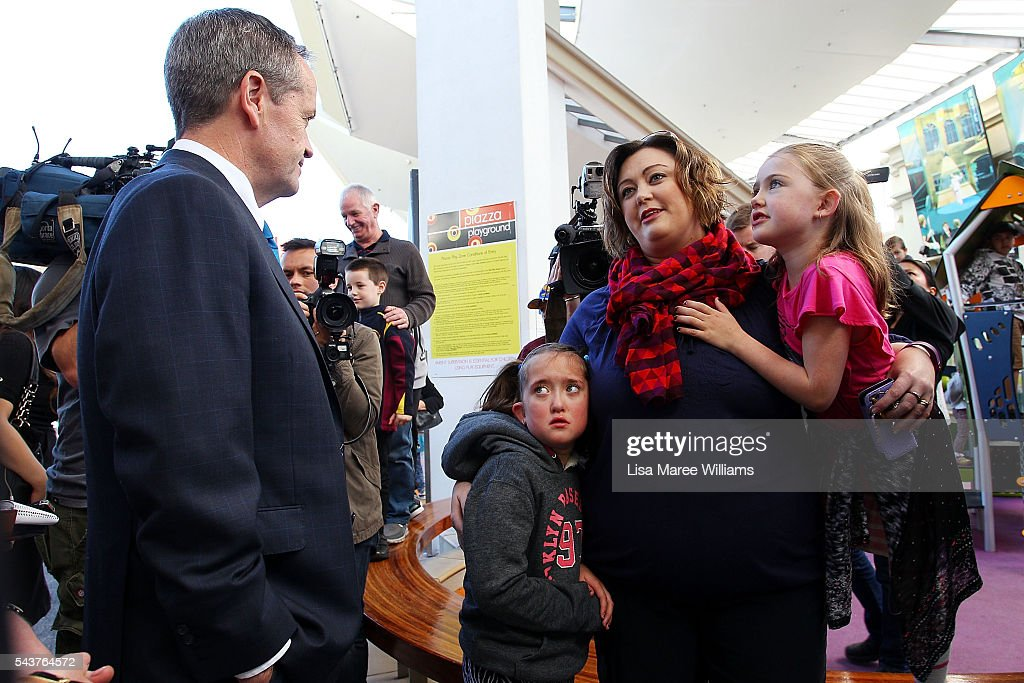 Opposition Leader, Australian Labor Party <a gi-track='captionPersonalityLinkClicked' href=/galleries/search?phrase=Bill+Shorten&family=editorial&specificpeople=606712 ng-click='$event.stopPropagation()'>Bill Shorten</a> speaks with locals during a visit to the Hyperdome shopping centre on June 30, 2016 in Logan, Australia. <a gi-track='captionPersonalityLinkClicked' href=/galleries/search?phrase=Bill+Shorten&family=editorial&specificpeople=606712 ng-click='$event.stopPropagation()'>Bill Shorten</a> is campaigning heavily on Medicare, promising to make sure it isn't privatised if the Labor Party wins the Federal Election on July 2.