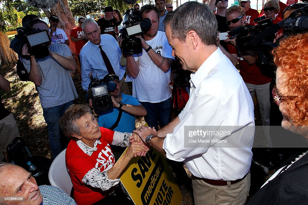 Opposition Leader, Australian Labor Party <a gi-track='captionPersonalityLinkClicked' href=/galleries/search?phrase=Bill+Shorten&family=editorial&specificpeople=606712 ng-click='$event.stopPropagation()'>Bill Shorten</a> speaks with supporters at The Strand on June 24, 2016 in Townsville, Australia. <a gi-track='captionPersonalityLinkClicked' href=/galleries/search?phrase=Bill+Shorten&family=editorial&specificpeople=606712 ng-click='$event.stopPropagation()'>Bill Shorten</a> is campaigning heavily on Medicare, promising to make sure it isn't privatised if the Labor Party wins the Federal Election on July 2.
