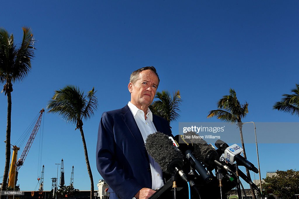 Opposition Leader, Australian Labor Party <a gi-track='captionPersonalityLinkClicked' href=/galleries/search?phrase=Bill+Shorten&family=editorial&specificpeople=606712 ng-click='$event.stopPropagation()'>Bill Shorten</a> speaks with the media on June 24, 2016 in Townsville, Australia. <a gi-track='captionPersonalityLinkClicked' href=/galleries/search?phrase=Bill+Shorten&family=editorial&specificpeople=606712 ng-click='$event.stopPropagation()'>Bill Shorten</a> launched his positive policies for Queensland including a overhaul of the visa system and continues to campaign heavily on Medicare, promising to make sure it isn't privatised if the Labor Party wins the Federal Election on July 2.