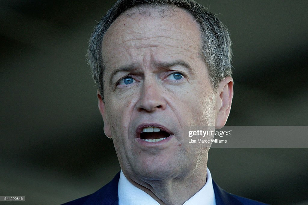 Opposition Leader, Australian Labor Party Bill Shorten speaks with the media during a visit to a polling booth at Colyton on July 2, 2016 in Sydney, Australia. After 8 official weeks of campaigning, Labor party leader, Bill Shorten will cast his vote and await results as Australians head to the polls to elect the 45th Parliament.