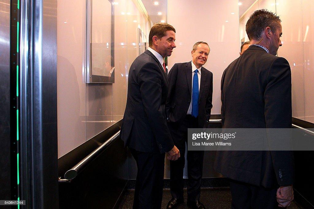 Opposition Leader, Australian Labor Party <a gi-track='captionPersonalityLinkClicked' href=/galleries/search?phrase=Bill+Shorten&family=editorial&specificpeople=606712 ng-click='$event.stopPropagation()'>Bill Shorten</a> steps into a lift during a visit to the Royal Brisbane and Women's Hospital on June 30, 2016 in Brisbane, Australia. <a gi-track='captionPersonalityLinkClicked' href=/galleries/search?phrase=Bill+Shorten&family=editorial&specificpeople=606712 ng-click='$event.stopPropagation()'>Bill Shorten</a> is campaigning heavily on Medicare, promising to make sure it isn't privatised if the Labor Party wins the Federal Election on July 2.