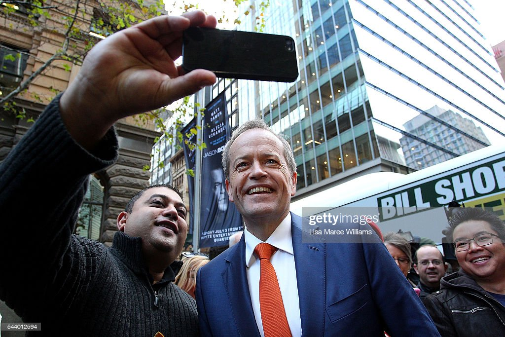Opposition Leader, Australian Labor Party <a gi-track='captionPersonalityLinkClicked' href=/galleries/search?phrase=Bill+Shorten&family=editorial&specificpeople=606712 ng-click='$event.stopPropagation()'>Bill Shorten</a> takes a photo with a supporter during a Medicare Rally at Martin Place on July 1, 2016 in Sydney, Australia.<a gi-track='captionPersonalityLinkClicked' href=/galleries/search?phrase=Bill+Shorten&family=editorial&specificpeople=606712 ng-click='$event.stopPropagation()'>Bill Shorten</a> is campaigning heavily on Medicare, promising to make sure it isn't privatised if the Labor Party wins the Federal Election on July 2.