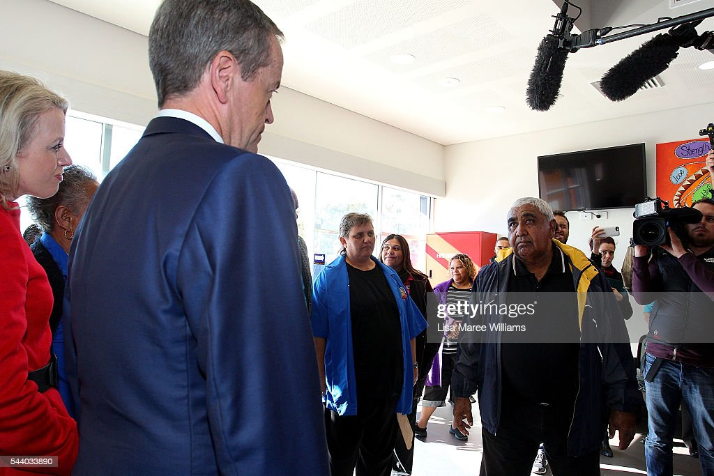 Opposition Leader, Australian Labor Party Bill Shorten visit the Tharawal Aboriginal Corporation Child and Family Centre in Campbeltown on July 1, 2016 in Sydney, Australia. Bill Shorten is campaigning heavily on Medicare, promising to make sure it isn't privatised if the Labor Party wins the Federal Election on July 2.