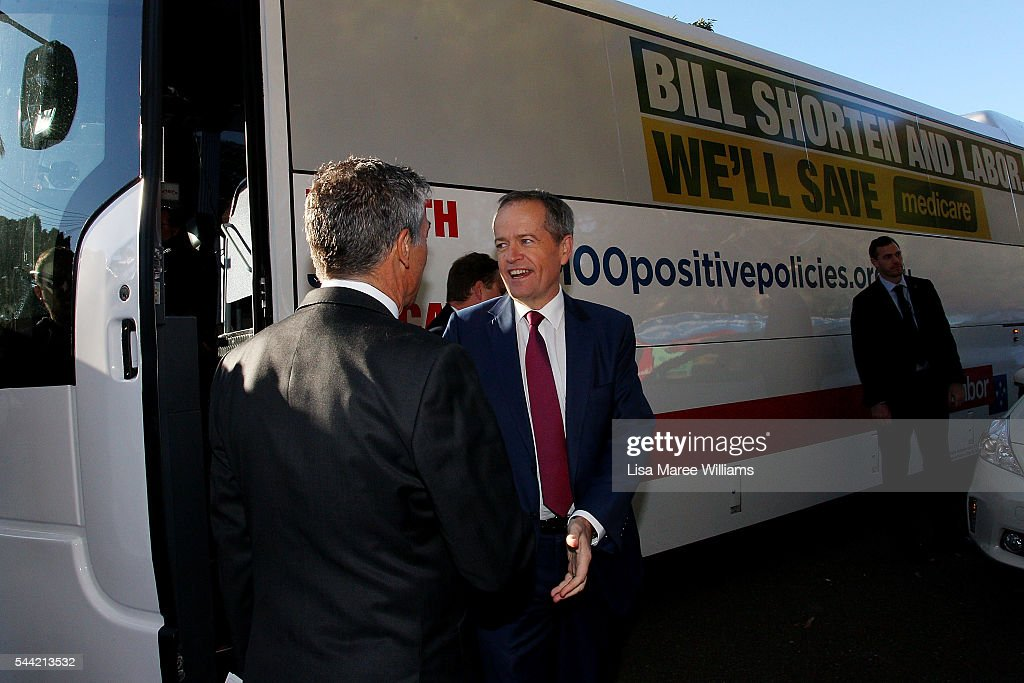 Opposition Leader, Australian Labor Party Bill Shorten visits a polling booth at Strathfield North Public School on July 2, 2016 in Sydney, Australia. After 8 official weeks of campaigning, Labor party leader, Bill Shorten will cast his vote and await results as Australians head to the polls to elect the 45th Parliament.