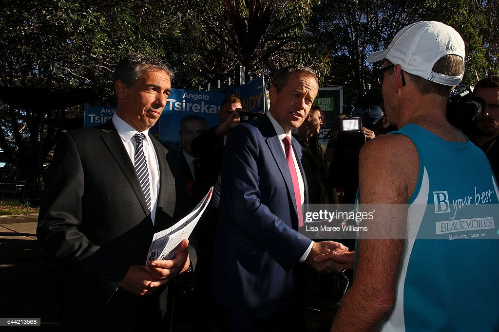 Opposition Leader, Australian Labor Party <a gi-track='captionPersonalityLinkClicked' href=/galleries/search?phrase=Bill+Shorten&family=editorial&specificpeople=606712 ng-click='$event.stopPropagation()'>Bill Shorten</a> visits a polling booth at Strathfield North Public School on July 2, 2016 in Sydney, Australia. After 8 official weeks of campaigning, Labor party leader, <a gi-track='captionPersonalityLinkClicked' href=/galleries/search?phrase=Bill+Shorten&family=editorial&specificpeople=606712 ng-click='$event.stopPropagation()'>Bill Shorten</a> will cast his vote and await results as Australians head to the polls to elect the 45th Parliament.