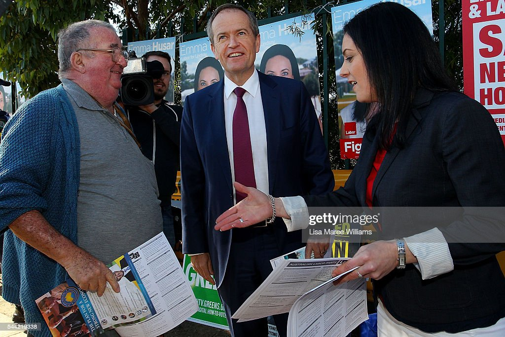 Opposition Leader, Australian Labor Party Bill Shorten visits a polling booth at Colyton on July 2, 2016 in Sydney, Australia. After 8 official weeks of campaigning, Labor party leader, Bill Shorten will cast his vote and await results as Australians head to the polls to elect the 45th Parliament.