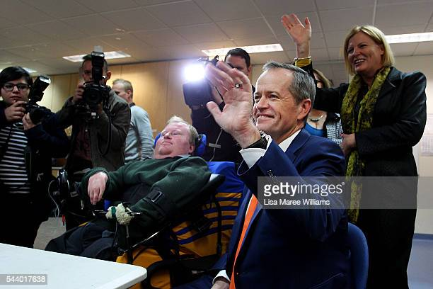 Opposition Leader Australian Labor Party Bill Shorten visits Northcott a disability support centre in Parramatta on July 1 2016 in Sydney...