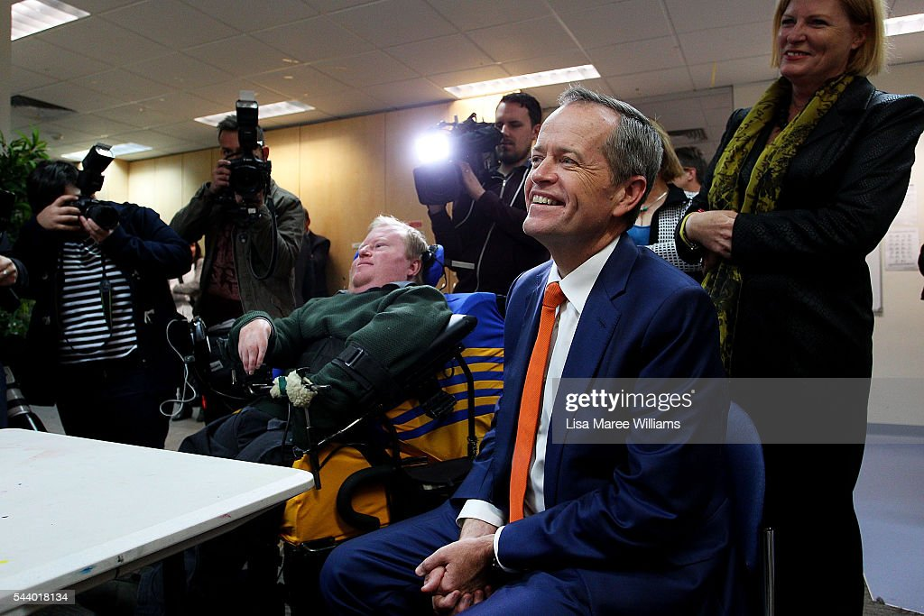 Opposition Leader, Australian Labor Party Bill Shorten visits Northcott, a disability support centre in Parramatta on July 1, 2016 in Sydney, Australia.Bill Shorten is campaigning heavily on Medicare, promising to make sure it isn't privatised if the Labor Party wins the Federal Election on July 2.