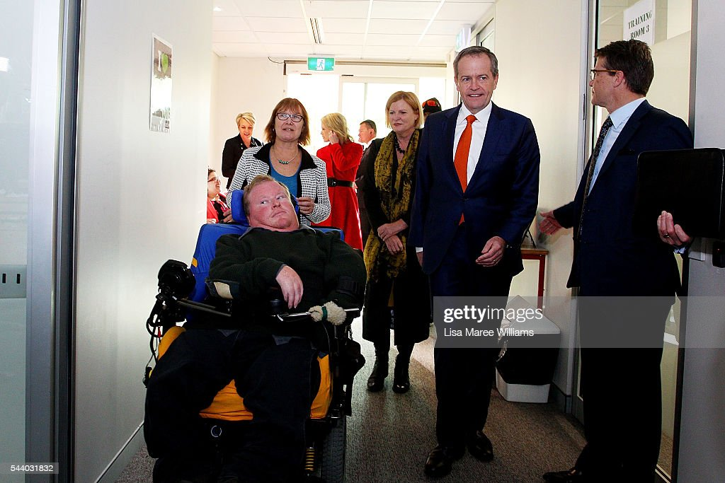Opposition Leader, Australian Labor Party <a gi-track='captionPersonalityLinkClicked' href=/galleries/search?phrase=Bill+Shorten&family=editorial&specificpeople=606712 ng-click='$event.stopPropagation()'>Bill Shorten</a> visits Northcott disability support centre in Parramatta on July 1, 2016 in Sydney, Australia.<a gi-track='captionPersonalityLinkClicked' href=/galleries/search?phrase=Bill+Shorten&family=editorial&specificpeople=606712 ng-click='$event.stopPropagation()'>Bill Shorten</a> is campaigning heavily on Medicare, promising to make sure it isn't privatised if the Labor Party wins the Federal Election on July 2.