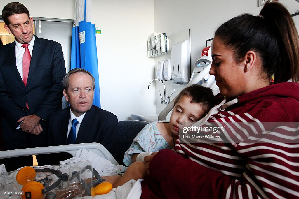 Opposition Leader, Australian Labor Party <a gi-track='captionPersonalityLinkClicked' href=/galleries/search?phrase=Bill+Shorten&family=editorial&specificpeople=606712 ng-click='$event.stopPropagation()'>Bill Shorten</a> visits with Brant Neho, 3 and mother Kowhai Neho at the Childrens Ward at Logan Hospital on June 30, 2016 in Logan, Australia. <a gi-track='captionPersonalityLinkClicked' href=/galleries/search?phrase=Bill+Shorten&family=editorial&specificpeople=606712 ng-click='$event.stopPropagation()'>Bill Shorten</a> is campaigning heavily on Medicare, promising to make sure it isn't privatised if the Labor Party wins the Federal Election on July 2.