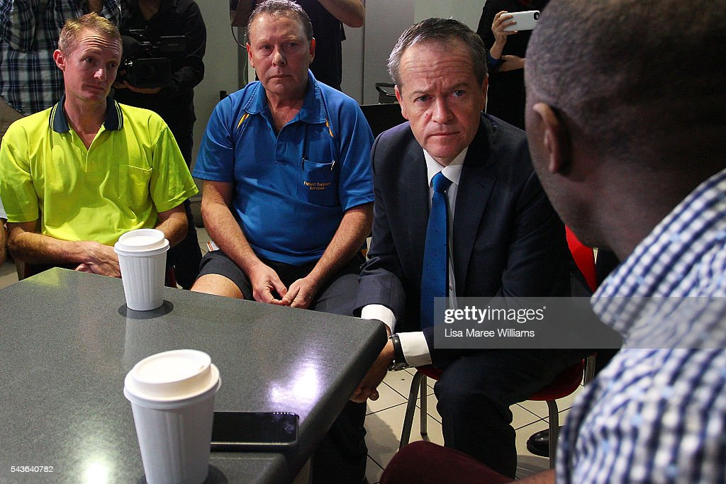 Opposition Leader, Australian Labor Party Bill Shorten visits with staff at the Royal Brisbane and Women's Hospital on June 30, 2016 in Brisbane, Australia. Bill Shorten is campaigning heavily on Medicare, promising to make sure it isn't privatised if the Labor Party wins the Federal Election on July 2.