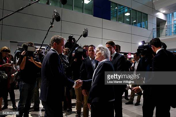 Opposition Leader Australian Labor Party Bill Shorten visits with staff at the Royal Brisbane and Women's Hospital on June 30 2016 in Brisbane...