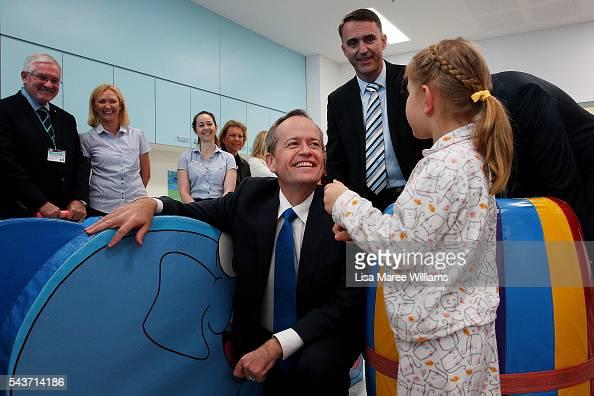 Opposition Leader Australian Labor Party Bill Shorten visits with Azura Bakker at the Childrens Ward at Logan Hospital on June 30 2016 in Logan...