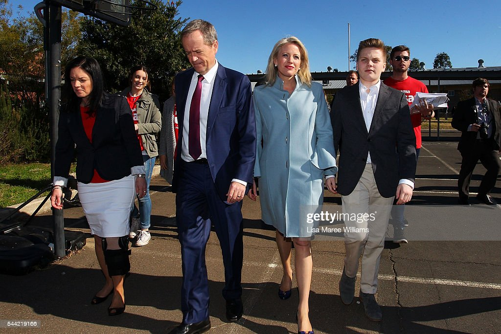 Opposition Leader, Australian Labor Party Bill Shorten, wife Chloe Shorten and Rupert visit a polling booth at Colyton on July 2, 2016 in Sydney, Australia. After 8 official weeks of campaigning, Labor party leader, Bill Shorten will cast his vote and await results as Australians head to the polls to elect the 45th Parliament.