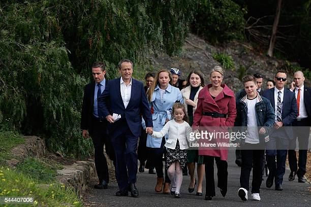 Opposition Leader Australian Labor Party Bill Shorten wife Chloe Shorten and family Clementine Rupert Alexandra and Georgette arrive at the Boathouse...