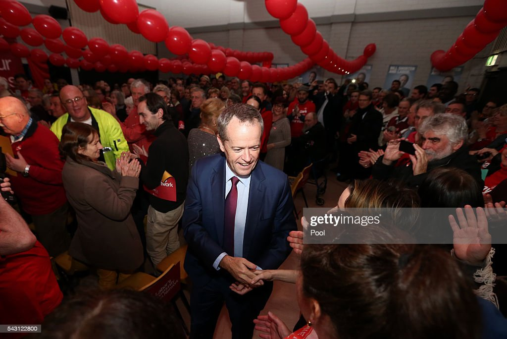 Opposition Leader <a gi-track='captionPersonalityLinkClicked' href=/galleries/search?phrase=Bill+Shorten&family=editorial&specificpeople=606712 ng-click='$event.stopPropagation()'>Bill Shorten</a> addresses the Labor volunteers save medicare rally at the Eley Park Community Centre in Blackburn South, Victoria, Australia.
