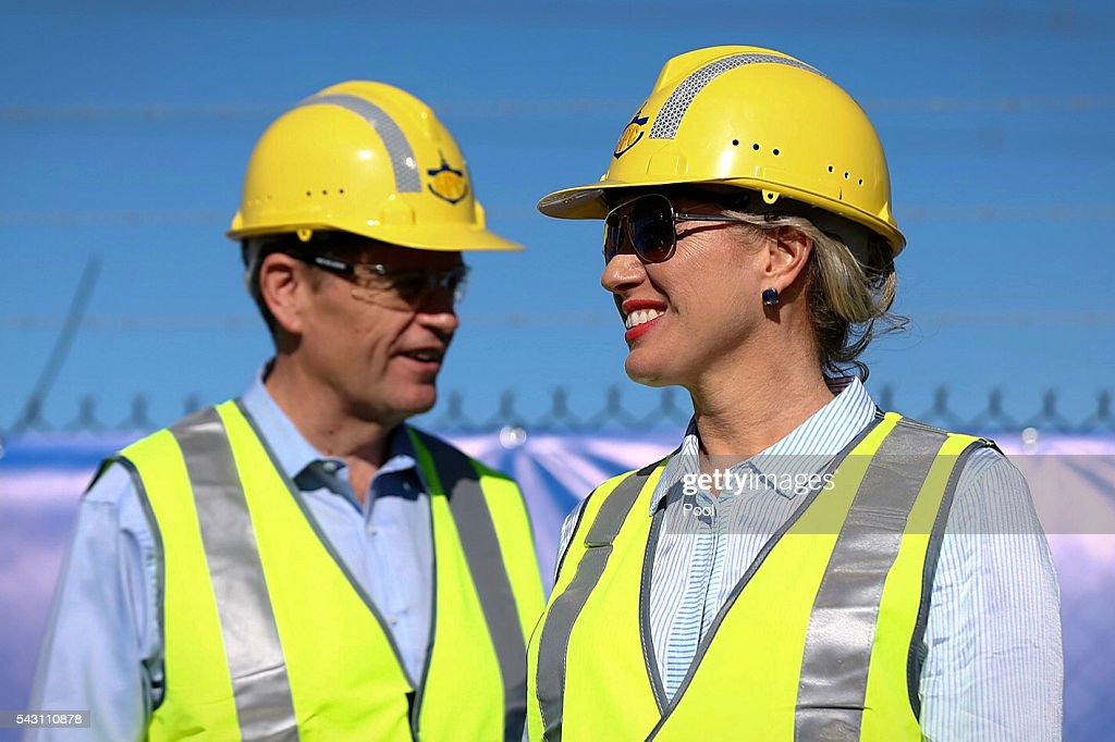 Opposition Leader Bill Shorten and Chloe Shorten during a visit to the Gladstone Ports Corporation's Auckland Point Terminal, on June 26, 2016 in Gladstone, Queensland. Shorten continues to campaign leading up to the July 2nd elections. (Photo by Alex Ellinghausen-Pool/Getty Images