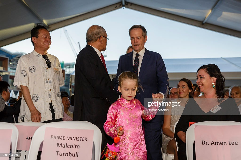 Opposition leader Bill Shorten and his daughter Clementine at the Chinese New Year Lantern Festival at Tumbalong Park on February 12, 2016 in Sydney, Australia. The lighting of lanterns is a centuries old tradition that marks the end of the Chinese New Year Festival.