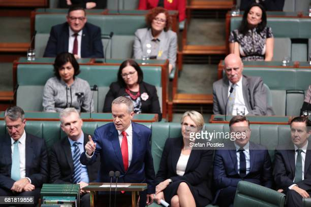 Opposition Leader Bill Shorten delivers his budget reply address in the House of Representatives at Parliament House on May 11 2017 in Canberra...