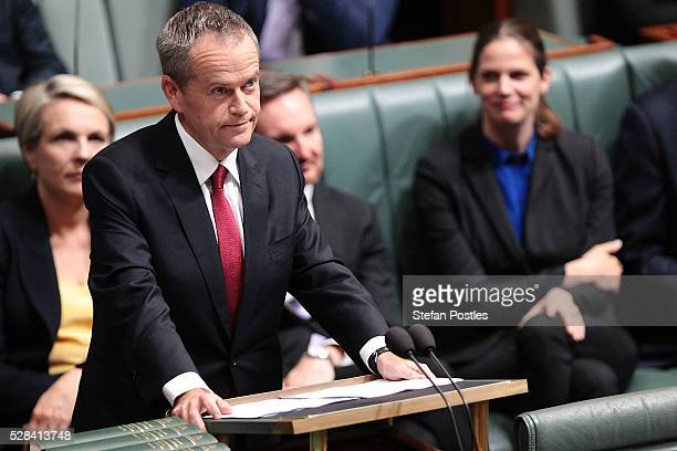 Opposition leader Bill Shorten delivers his budget reply speech on May 5 2016 in Canberra Australia The Turnbull Government's first budget has...
