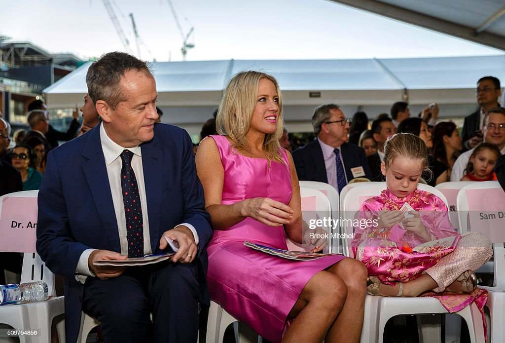 Opposition leader Bill Shorten, his his wife Chloe and daughter Clementine at the Chinese New Year Lantern Festival at Tumbalong Park on February 12, 2016 in Sydney, Australia. The lighting of lanterns is a centuries old tradition that marks the end of the Chinese New Year Festival.