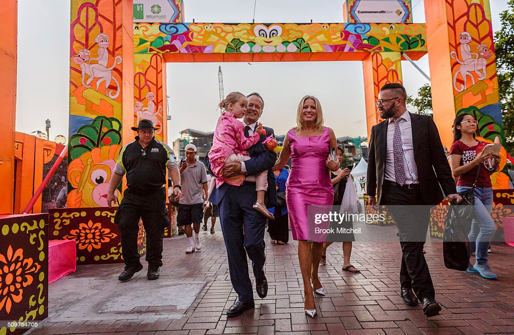 Opposition leader Bill Shorten, his wife Chloe and daughter Clementine attend the Chinese New Year Lantern Festival at Tumbalong Park on February 12, 2016 in Sydney, Australia. The lighting of lanterns is a centuries old tradition that marks the end of the Chinese New Year Festival.