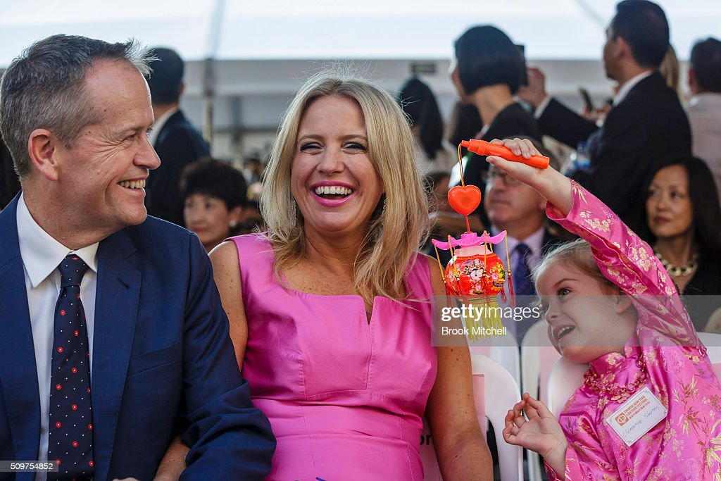 Opposition leader Bill Shorten, his wife Chloe and daughter Clementine at the Chinese New Year Lantern Festival at Tumbalong Park on February 12, 2016 in Sydney, Australia. The lighting of lanterns is a centuries old tradition that marks the end of the Chinese New Year Festival.