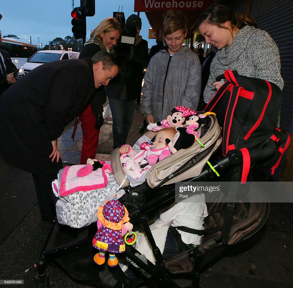 Opposition Leader <a gi-track='captionPersonalityLinkClicked' href=/galleries/search?phrase=Bill+Shorten&family=editorial&specificpeople=606712 ng-click='$event.stopPropagation()'>Bill Shorten</a> meets with locals while campaigning at Frankston train station on June 27, 2016 in Melbourne, Australia. The latest Newspoll shows the Coalition has pulled ahead of the Labor Party, less than a week out from the July 2 election. On a two-party preferred basis, the Coalition now leads Labor 51-49, breaking the deadlock from the last poll.