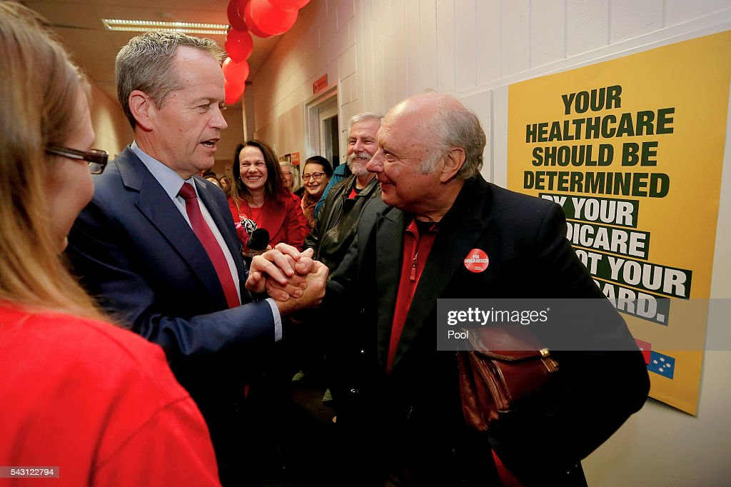 Opposition Leader <a gi-track='captionPersonalityLinkClicked' href=/galleries/search?phrase=Bill+Shorten&family=editorial&specificpeople=606712 ng-click='$event.stopPropagation()'>Bill Shorten</a> meets with supporters after addressing the Labor volunteers save medicare rally at the Eley Park Community Centre in Blackburn South, Victoria, Australia.