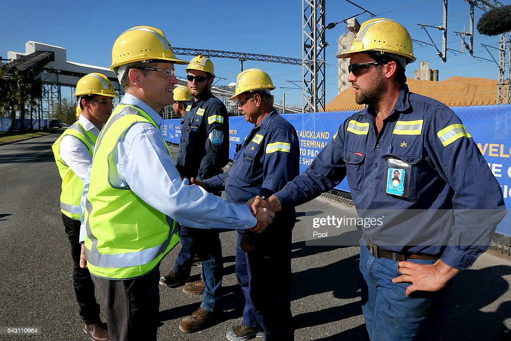 Opposition Leader Bill Shorten meets with workers during a visit to the Gladstone Ports Corporation's Auckland Point Terminal, on June 26, 2016 in Gladstone, Queensland. Shorten continues to campaign leading up to the July 2nd elections.