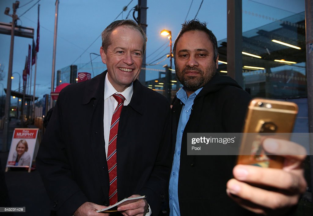 Opposition Leader <a gi-track='captionPersonalityLinkClicked' href=/galleries/search?phrase=Bill+Shorten&family=editorial&specificpeople=606712 ng-click='$event.stopPropagation()'>Bill Shorten</a> poses for a photo while campaigning at Frankston train station on June 27, 2016 in Melbourne, Australia. The latest Newspoll shows the Coalition has pulled ahead of the Labor Party, less than a week out from the July 2 election. On a two-party preferred basis, the Coalition now leads Labor 51-49, breaking the deadlock from the last poll.