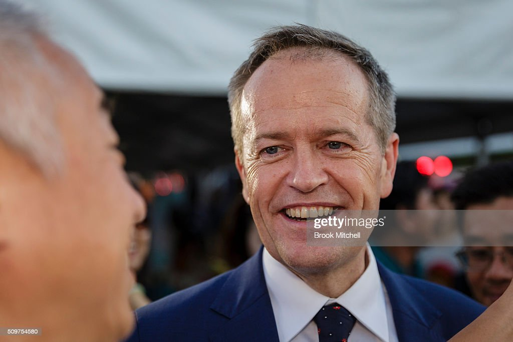 Opposition leader Bill Shorten shares a laugh with the crowd at the Chinese New Year Lantern Festival at Tumbalong Park on February 12, 2016 in Sydney, Australia. The lighting of lanterns is a centuries old tradition that marks the end of the Chinese New Year Festival.