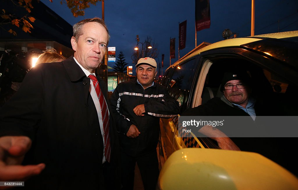 Opposition Leader <a gi-track='captionPersonalityLinkClicked' href=/galleries/search?phrase=Bill+Shorten&family=editorial&specificpeople=606712 ng-click='$event.stopPropagation()'>Bill Shorten</a> talks with taxi drivers while campaigning at Frankston train station on June 27, 2016 in Melbourne, Australia. The latest Newspoll shows the Coalition has pulled ahead of the Labor Party, less than a week out from the July 2 election. On a two-party preferred basis, the Coalition now leads Labor 51-49, breaking the deadlock from the last poll.