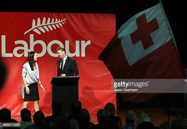 Opposition Leader David Cunliffe speaks to Labour MP Jacinda Ardern on stage after delivering a State Of The Nation Speech to Labour Party supporters...