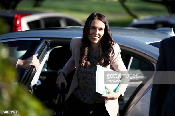 Opposition Leader Jacinda Ardern arrives at Western Springs College to announce the Labour Party's tertiary education policy on August 29 2017 in...