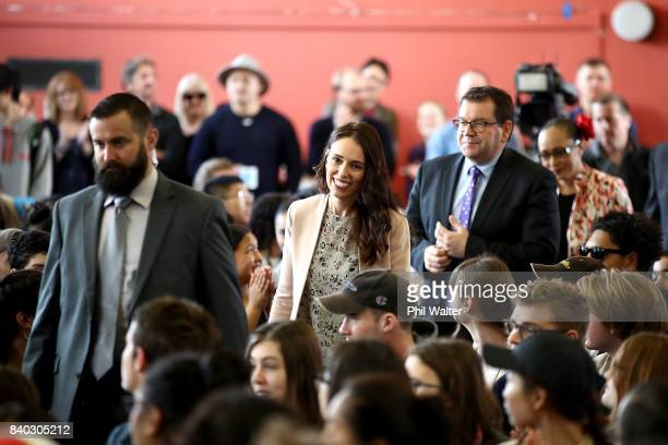 Opposition Leader Jacinda Ardern visits Western Springs College to announce the Labour Party's tertiary education policy on August 29 2017 in...