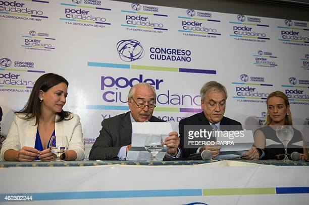 Opposition leader Maria Corina Machada former Colombian president Andres Pastrana reading a letter of jailed opposition leader Leopoldo Lopez former...