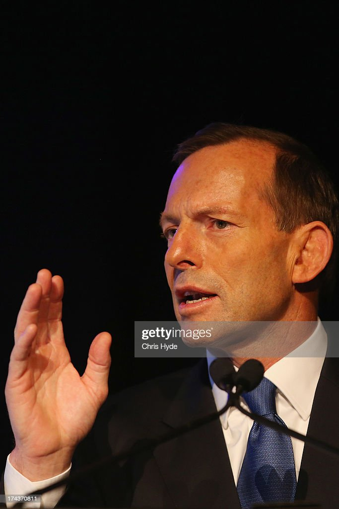 Opposition Leader <a gi-track='captionPersonalityLinkClicked' href=/galleries/search?phrase=Tony+Abbott&family=editorial&specificpeople=220956 ng-click='$event.stopPropagation()'>Tony Abbott</a> addresses the Council of Small Business of Australia forum the Brisbane Convention & Exhibition Centre on July 25, 2013 in Brisbane, Australia. Abbott announced that if elected he would make the small business minister a member of cabinet.