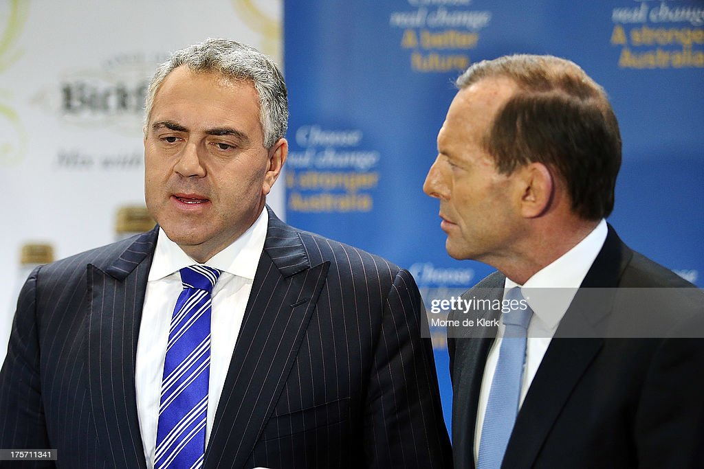 Opposition Leader <a gi-track='captionPersonalityLinkClicked' href=/galleries/search?phrase=Tony+Abbott&family=editorial&specificpeople=220956 ng-click='$event.stopPropagation()'>Tony Abbott</a> and Joe Hockey speaks to the media on August 7, 2013 in Adelaide, Australia. Mr Abbott is campaigning in Adelaide today announcing a proposed 1.5% tax rate cut for business if elected in the upcoming 2013 Federal Election on September 7th.