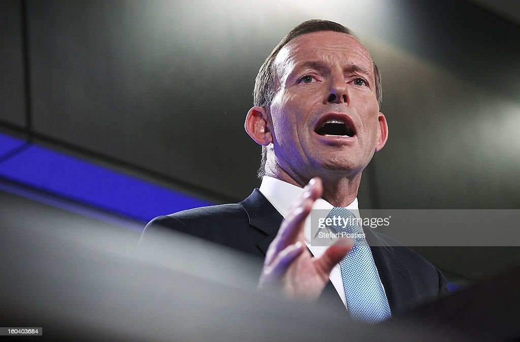 Opposition leader <a gi-track='captionPersonalityLinkClicked' href=/galleries/search?phrase=Tony+Abbott&family=editorial&specificpeople=220956 ng-click='$event.stopPropagation()'>Tony Abbott</a> during his address at the National Press Club on January 31, 2013 in Canberra, Australia. Prime Minister Gillard yesterday set Australia's election date for September 14, making the campaign period the longest in Australia's history. Opposition leader <a gi-track='captionPersonalityLinkClicked' href=/galleries/search?phrase=Tony+Abbott&family=editorial&specificpeople=220956 ng-click='$event.stopPropagation()'>Tony Abbott</a> used his speech to outline his plan to win the Australian publics vote.