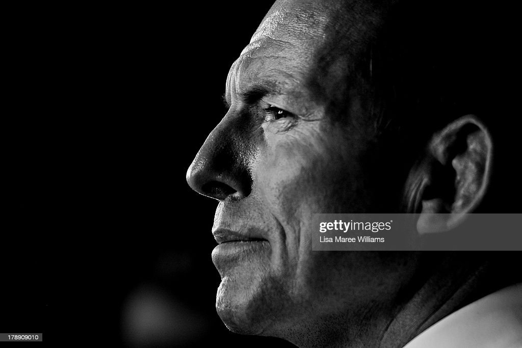 Opposition Leader <a gi-track='captionPersonalityLinkClicked' href=/galleries/search?phrase=Tony+Abbott&family=editorial&specificpeople=220956 ng-click='$event.stopPropagation()'>Tony Abbott</a> faces questions from the media during a visit to Rocky's Own Transport Company on August 31, 2013 in Rockhampton, Australia. Australian voters will head to the polls on September 7 to elect the 44th parliament.