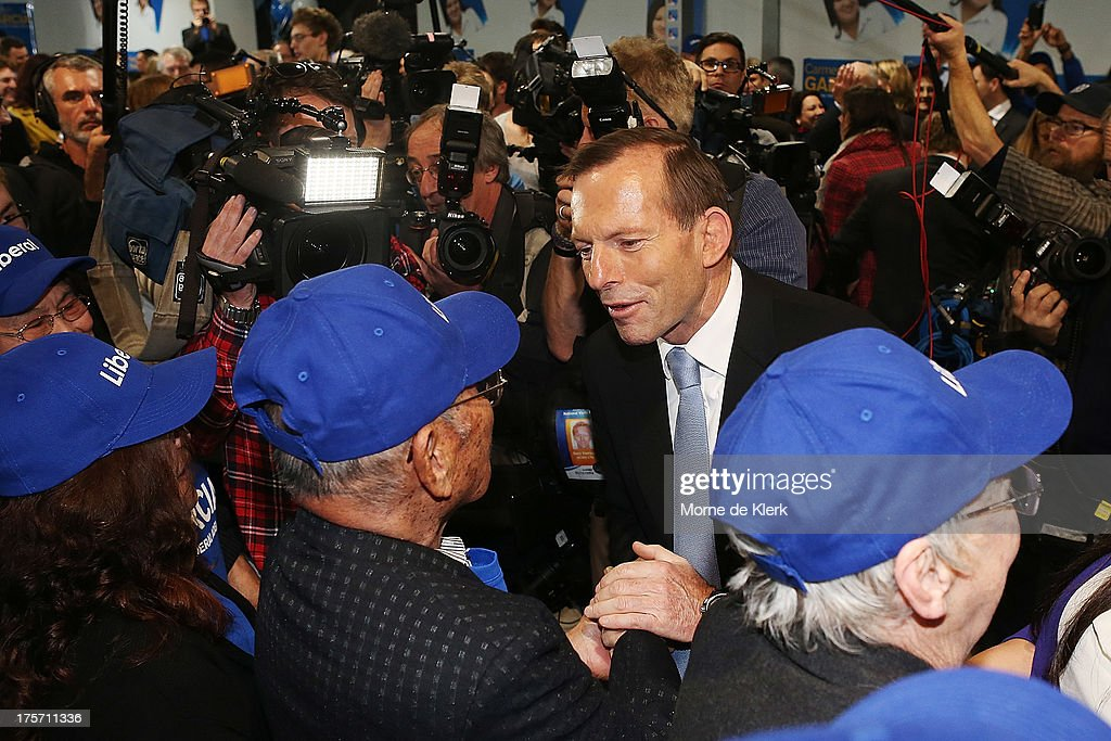 Opposition Leader <a gi-track='captionPersonalityLinkClicked' href=/galleries/search?phrase=Tony+Abbott&family=editorial&specificpeople=220956 ng-click='$event.stopPropagation()'>Tony Abbott</a> meets Liberal supporters after speaking at the official campaign launch of Carmen Garcia, Liberal candidate for the seat of Adelaide on August 7, 2013 in Adelaide, Australia. Mr Abbott is campaigning in Adelaide today announcing a proposed 1.5% tax rate cut for business if elected in the upcoming 2013 Federal Election on September 7th.