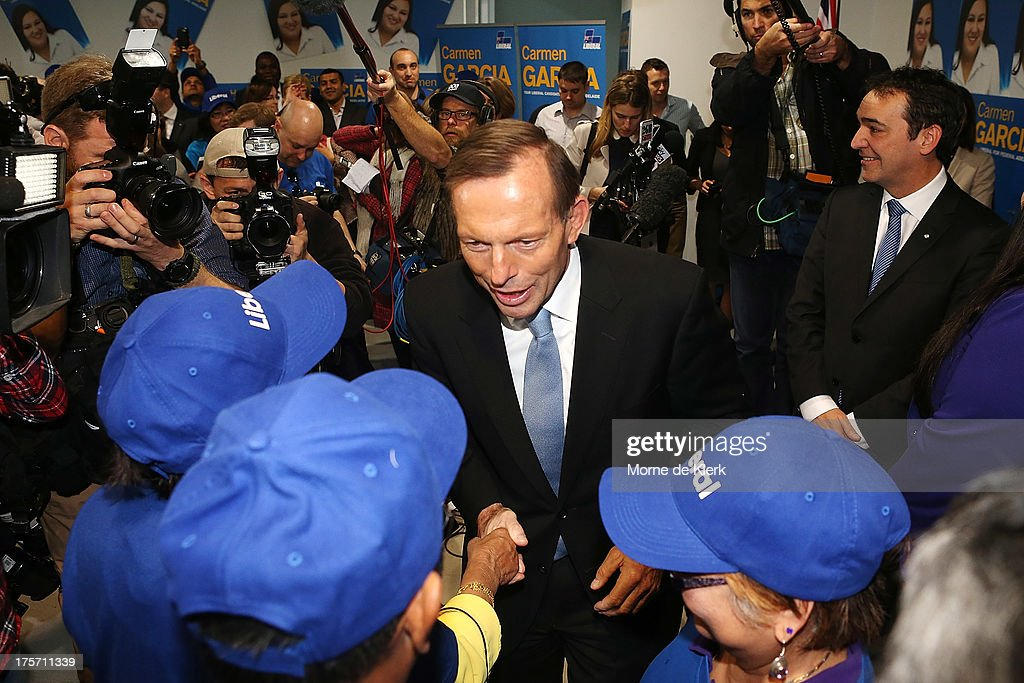 Opposition Leader Tony Abbott meets Liberal supporters after speaking at the official campaign launch of Carmen Garcia, Liberal candidate for the seat of Adelaide on August 7, 2013 in Adelaide, Australia. Mr Abbott is campaigning in Adelaide today announcing a proposed 1.5% tax rate cut for business if elected in the upcoming 2013 Federal Election on September 7th.