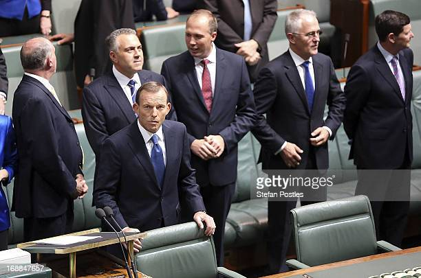 Opposition leader Tony Abbott prepares to deliver his budget reply in the House of Representatives at Parliament House on May 16 2013 in Canberra...