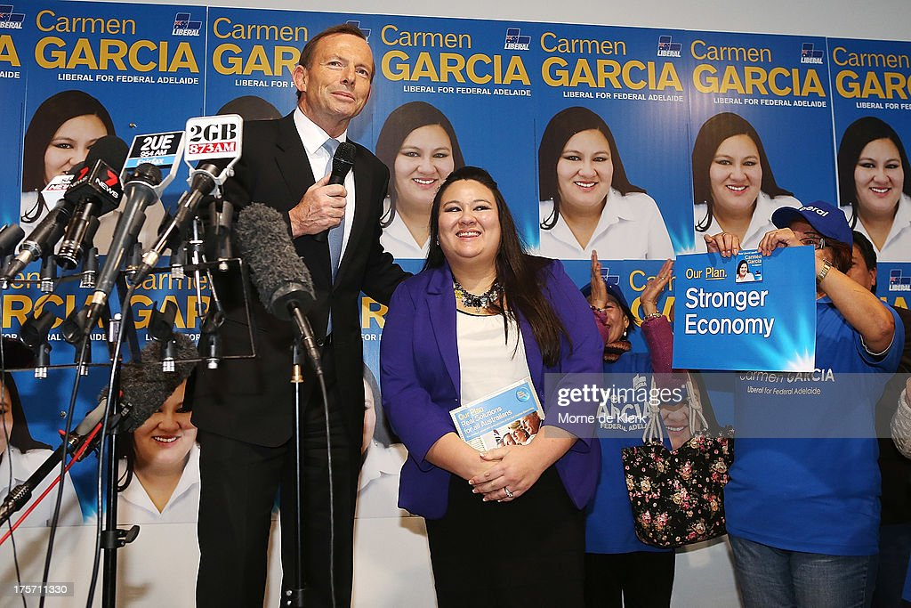 Opposition Leader <a gi-track='captionPersonalityLinkClicked' href=/galleries/search?phrase=Tony+Abbott&family=editorial&specificpeople=220956 ng-click='$event.stopPropagation()'>Tony Abbott</a> speaks at the official campaign launch of Carmen Garcia, Liberal candidate for the seat of Adelaide on August 7, 2013 in Adelaide, Australia. Mr Abbott is campaigning in Adelaide today announcing a proposed 1.5% tax rate cut for business if elected in the upcoming 2013 Federal Election on September 7th.
