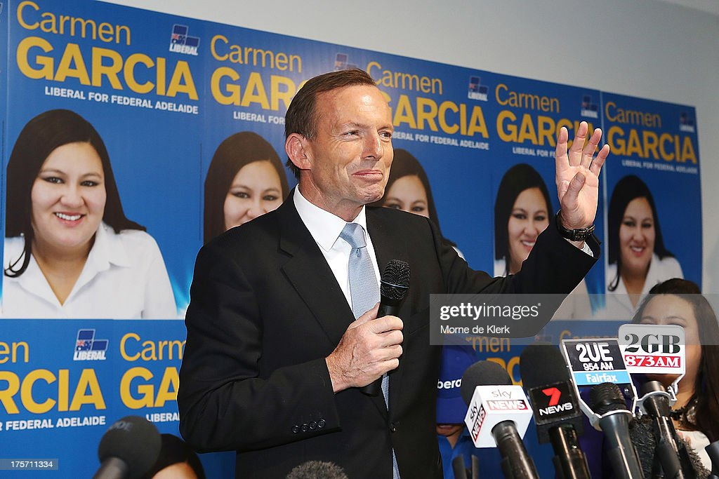 Opposition Leader Tony Abbott speaks at the official campaign launch of Carmen Garcia, Liberal candidate for the seat of Adelaide on August 7, 2013 in Adelaide, Australia. Mr Abbott is campaigning in Adelaide today announcing a proposed 1.5% tax rate cut for business if elected in the upcoming 2013 Federal Election on September 7th.