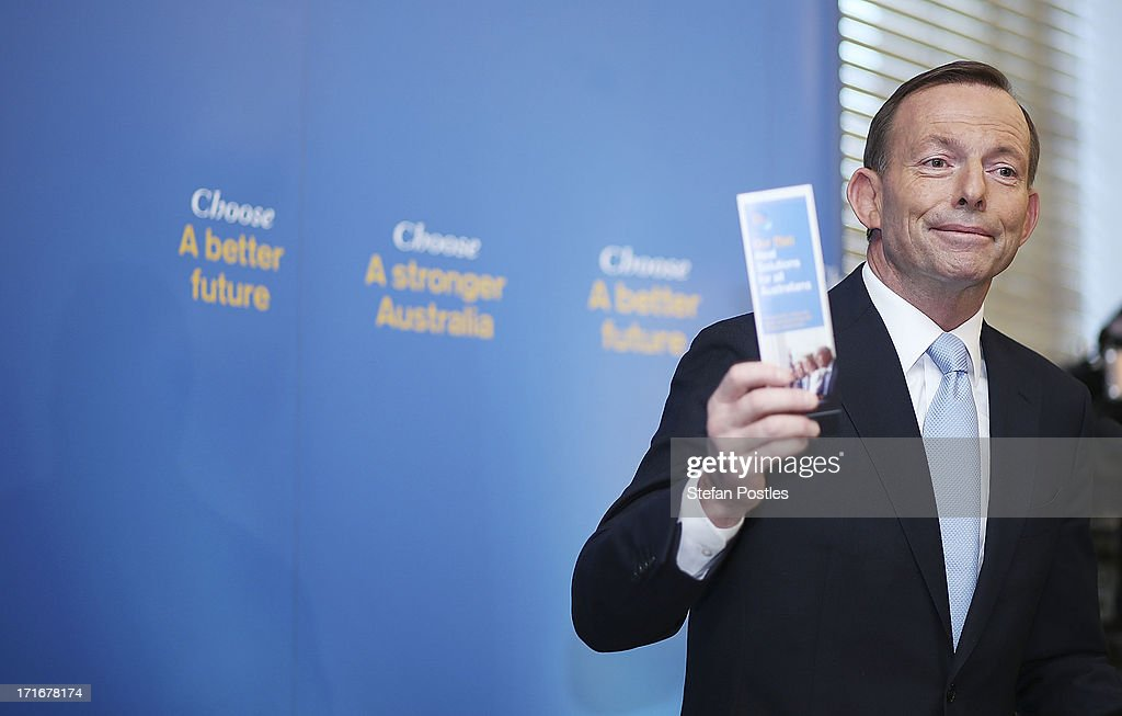 Opposition Leader <a gi-track='captionPersonalityLinkClicked' href=/galleries/search?phrase=Tony+Abbott&family=editorial&specificpeople=220956 ng-click='$event.stopPropagation()'>Tony Abbott</a> speaks to Coalition MPs in the party room on June 28, 2013 in Canberra, Australia. Abbott questioned the credibility of Kevin Rudd's new front bench during his address to Coalition MPs, one day after Kevin Rudd was sworn in as Prime Minister following a Labor party leadership ballot.