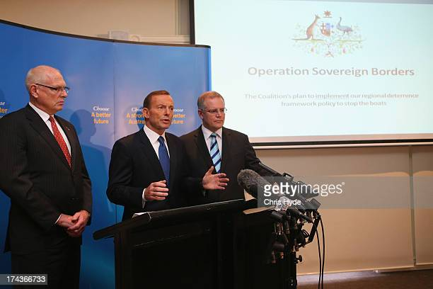 Opposition Leader Tony Abbott unveils the Coalition Border Protection Policy with retired Australian Army MajorGeneral Jim Molan and Shadow Minister...