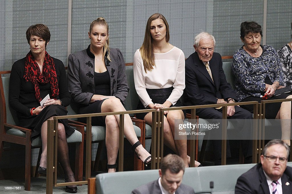 Opposition leader, Tony Abbott's family watch on as he delivers his budget reply in the House of Representatives at Parliament House on May 16, 2013 in Canberra, Australia. Abbott is expected to address how a Coalition government will pay for tax cuts if elected on September 14. The government unveiled the 2013/2014 federal budget on Tuesday, revealing an 19.4AUD billion deficit with plans to reach surplus by 2016/2017 should the Labor party be re-elected this September.